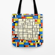 Tote Bag featuring Mondrian by PureVintageLove