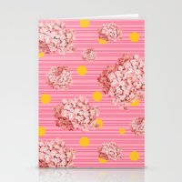 hydrangea spots and stripes Stationery Cards