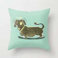 Bad Dog! (The Little Dachshund That Didn't) Throw Pillow
