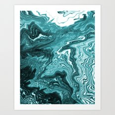 Yumiko - spilled ink painting abstract minimal ocean wave water sea monochromatic trendy hipster art Art Print