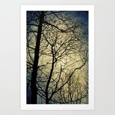silhouettes and haze Art Print