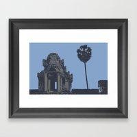 Crypt at Angkor Wat with Palm Tree Framed Art Print