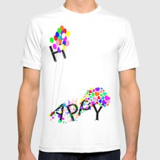 Just Happy White Mens Fitted Tee SMALL