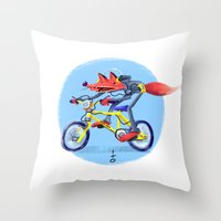 fox bike Throw Pillow
