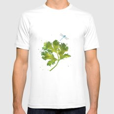 Dragonfly Two SMALL White Mens Fitted Tee