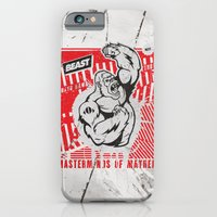iPhone & iPod Case featuring Mayhem Ape (Black on Red) by Beast Syndicate