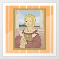 Lady with Unicorn by Raphael Art Print