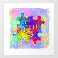 Autism Colorful Puzzle Pieces Art Print