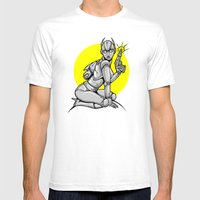 Robot Pinup Mens Fitted Tee White SMALL