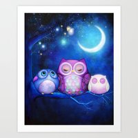 Night Owls & Fairy Lanterns Art Print
