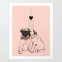 The Love Of Pug Art Print