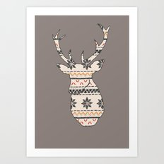Fairisle Deer Art Print