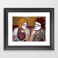 Best Cat Friends Framed Art Print