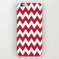 Red and White Bold Chevron Stripes iPhone & iPod Skin