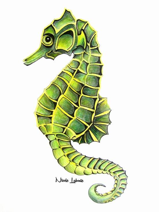 Sea Horse Green Yellow Sea Life Ocean Underwater Creature Art Print