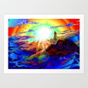 On a mountain top Art Print