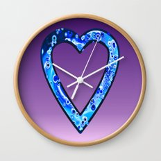 Heart in Sky Blue Wall Clock