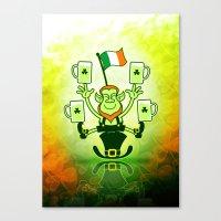 Leprechaun Juggling Beers and Irish Flag Canvas Print