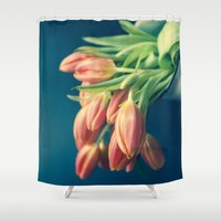Pouring Out Tulips - Orange  Shower Curtain