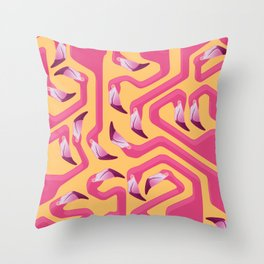 Throw Pillow - Flamingo Maze - Iker Paz Studio