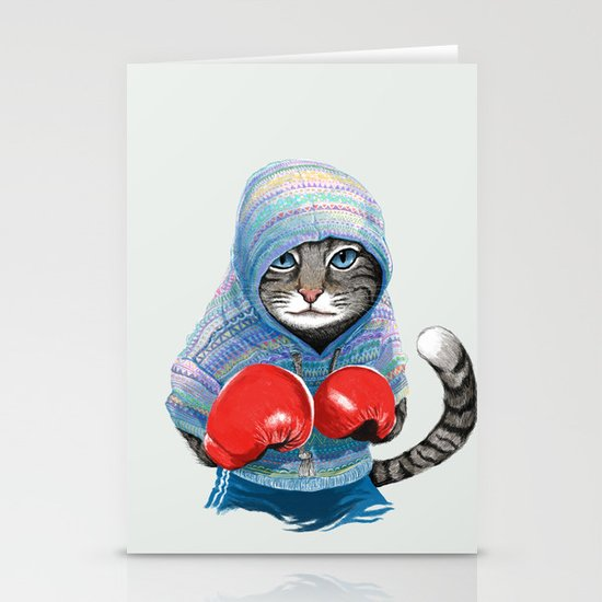 Boxing Cat Stationery Card