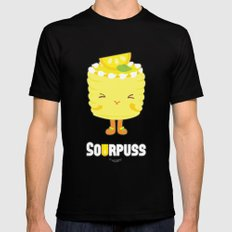Sourpuss Lemon cake SMALL Black Mens Fitted Tee