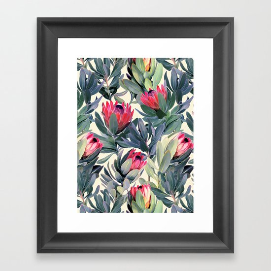 Painted Protea Pattern Framed Art Print By Micklyn Society6