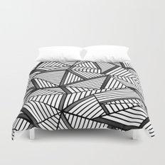 Ab Lines 2 Black and White Duvet Cover