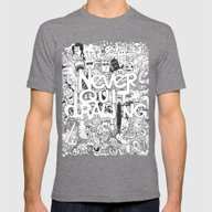Doddle | Never Quit Draw… Mens Fitted Tee Tri-Grey SMALL