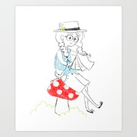 Girl drawing. Art Print