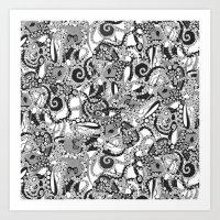 tentacles mono Art Print