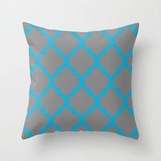 Moroccan Grey Aqua  Throw Pillow
