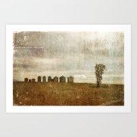 Nine Silos a Tank and a Tree Art Print
