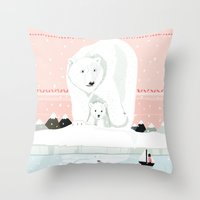 The White Bears And The … Throw Pillow