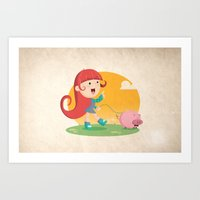 Lilly And Piggy Art Print