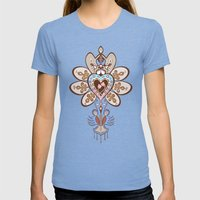 Flowering Heart Womens Fitted Tee Tri-Blue SMALL