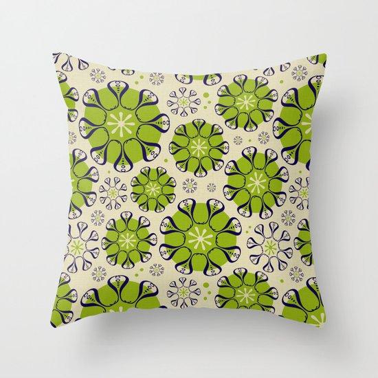 Playful Flower Pattern Throw Pillow