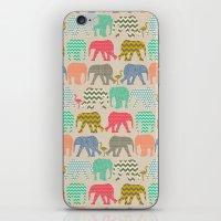 baby elephants and flamingos linen iPhone & iPod Skin