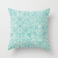 Detailed Floral Pattern in Teal and Cream Throw Pillow