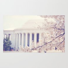 Cherry Blossoms at the Jefferson Memorial Washington DC Rug
