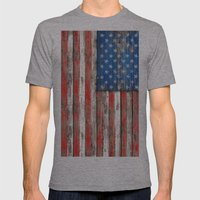 USA Vintage Wood Mens Fitted Tee Athletic Grey SMALL