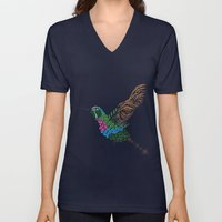 Abstract Hummingbird ~ Garnet-throated Variant Unisex V-Neck