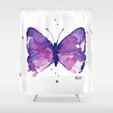Butterfly Purple Watercolor Shower Curtain