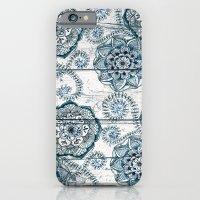 Navy Blue Floral Doodles on Wood iPhone 6 Slim Case