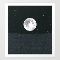 Grey Moonscape Art Print