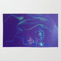Purple Girl with Glasses Rug
