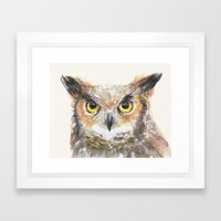 Owl Grey Horned Watercolor Framed Art Print
