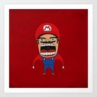 Screaming Mario Art Print