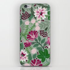 Magenta flowers on grey iPhone & iPod Skin