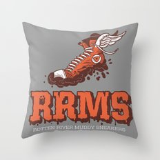 Muddy Sneakers Throw Pillow